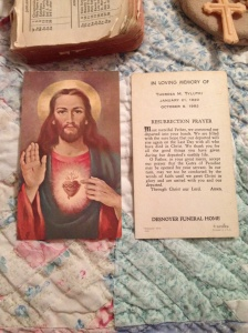 A prayer card from Grandma's funeral