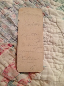 The back of the bookmark Grandma received in 7th grade. (her maiden name was Kutcha)